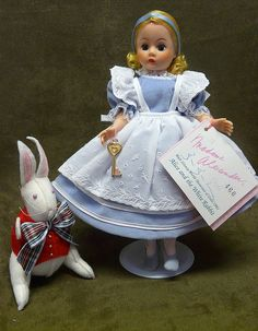 "Madame Alexander, Alice in Wonderland, 10"" Alice and the White Rabbit 1991"