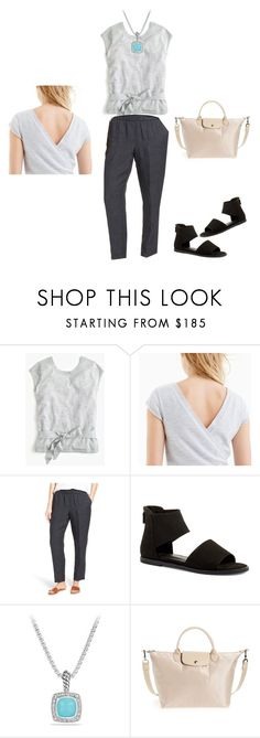 """""""Still some Summer weather left"""" by bichonluvr ❤ liked on Polyvore featuring J.Crew, Eileen Fisher and Longchamp"""