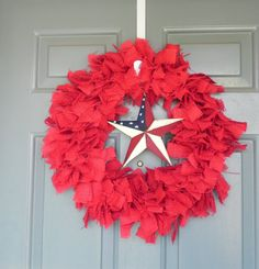 Red Burlap Wreath with Rustic Star 4th of July by RedRobynLane, $49.00