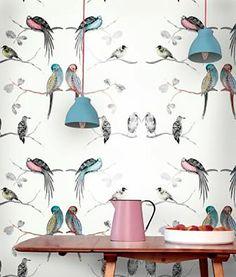 Louise Body - Perched Birds Cream Wallpaper