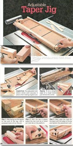 Adjustable Taper Jig Plans - Furniture Legs Construction Techniques   WoodArchivist.com