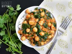Curried Chickpeas with Spinach - Budget Bytes  I have never tried anything made with curry seasoning..I will let you know how this tastes!  Going to try it next week!