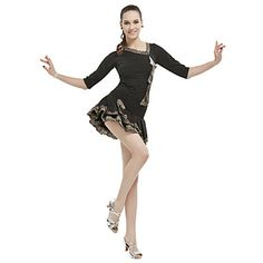 Women's Viscose With Animal Print Latin Dance Top And Skirt – USD $ 29.99