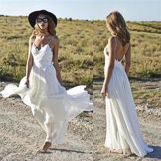 Spaghetti Straps Beach Summer Simple 2017 V-neck Open Back Chiffon Wedding Dresses , PD0227