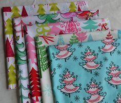 Christmas Tree Fabric Bundle/5 Fat Quarters/Cotton by ChristmasJul