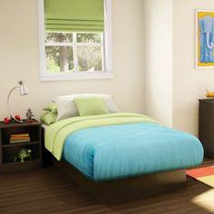 #platformbed #dormroomfurniture Imagine Twin Platform Bed Frame Kid Bedroom Furniture Brown Boys Girls Dorm