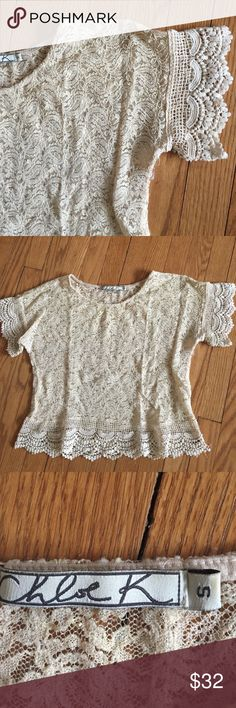 Ivory lace and crochet crop top. 🍂 Very pretty lace crop top, delicate crochet at sleeves and hem.  💕 Chloe K Tops