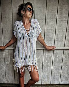 This Cover-Up was designed with every woman in mind. Not only is it written for sizes XXS - 4XL, but it is also adjustable within each size with lace-up cords on the sides of the garment to allow for extra room if needed. The pattern also give instructions on how to adjust for length.