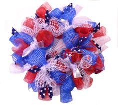 Wreaths For Door - Feeling Patriotic Mesh Wreath, $74.99 (http://www.wreathsfordoor.com/feeling-patriotic-mesh-wreath/)