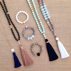 "• • Insta Sale • • A-G from left to right {price includes 20% off and free shipping (domestic only) A - White Pendant & Navy Tassel - $35/42"" B - Black Onyx & Bronze Tassel - $64/42"" C - White Agate & Gold Coin Bead - $20 D - Grey Agate & Blue Aqua Marine - $24 E - Dalmatian Jasper & Black Pendant - $22 F - Light Blue Jade & Navy Tassel - $64/42"" G - Grey Agate & Blue Aqua Marine"
