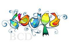 Five Birds Print от BrookeConnorDesign на Etsy