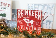 Vintage Christmas Sign Wood Holiday Art Merry by RusticPrintCo