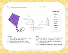 Vocabulary Crossword Puzzle - 2nd Grade - Journeys Lesson 22