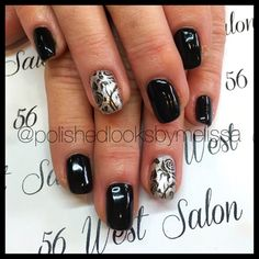 For Those Who Like A Little Flair But Still Keep It Suddle Roses Are Black Gel Polish Over Natural Nail Colors Used Young Nails Mani Q B