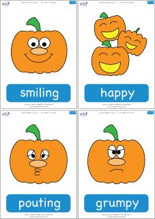 """Flashcards for the Super Simple Learning song Five Little Pumpkins.Practice emotions vocabulary and counting with the """"Five Little Pumpkins."""" Great for Halloween or anytime of year.  Contains 10 flashcards: smiling, happy, pouting, grumpy, yawning, sleepy, crying, sad, laughing, playing."""