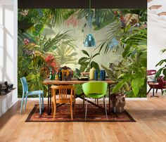 Komar Into The Wild Tropical Rain Forest Scenic Wallpaper Mural, Green, 368 x 248 cm, Set of 4 Pieces Estilo Tropical, Tropical Home Decor, Tropical Houses, Tropical Colors, Tropical Interior, Tropical Kitchen, Tropical Furniture, Photo Wallpaper, Wallpaper Roll