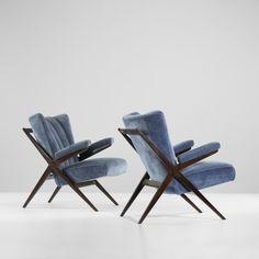 Franco Albini, #Ca 832 Walnut Armchairs for Cassina, 1946. Pure art.