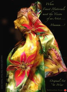 "Silk Garden - handpainted original silk scarf by Bettina Star-Rose  ~ 52"" x 8.25"