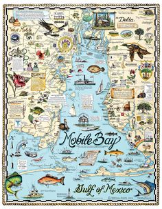Local artist's map of Mobile Bay rocks. History and culture on the half-shell! Artist Melissa Smith, Fairhope, AL