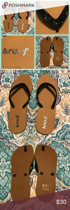 Reef glitter flip flops Like new Reef black glitter thong flip flops size 10. See photos for more details.   Thank you for looking at my post be sure to check out my closet. Follow me so you can keep updated with all my good deals.   Bundle your likes & I will send you a private offer. Click ADD TO BUNDLE on each item you like from my closet, I will send an exclusive offer with no obligation to buy.   I accept reasonable offers I'm a fast shipper. I look forward to doing business with you…