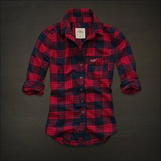 "HOLLISTER by Abercrombie & Fitch ""Shelter Islands"" women's red flannel shirt NWT"