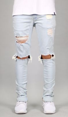 custom DENIM White Blue rip distressed jeans chino slim fit denim biker jeans pants jogger trouser