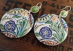 Handpainted Large Wooden Disk Earrings in Soft Spring Tones, Floral Design and Light Olive Bezel