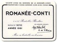 Romanée-Conti Grand Cru Domaine de la Romanée-Conti 1961