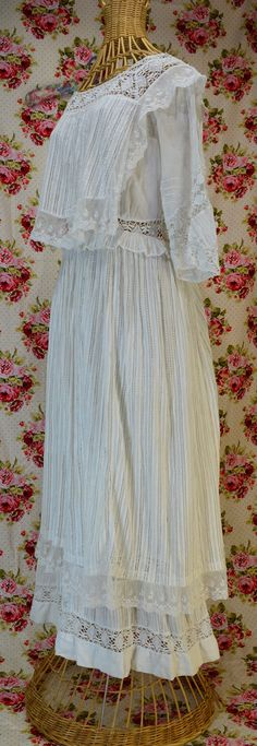Edwardian elegance in a confection of lace, embroidery and pintucks. Day Dresses, Flower Girl Dresses, Edwardian Gowns, Tea Gown, Ruffle Fabric, Thing 1, Under Dress, Antique Clothing, White Fabrics