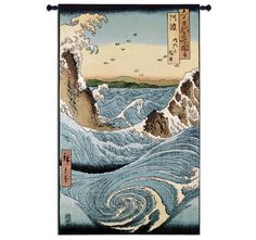 Awa province Stormy Sea at the Naruto Rapids from Famous Places of the Sixty Provinces Wall Tapestry