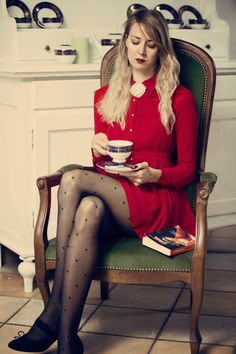 Discover this look wearing PERSUNMALL Dresses tagged dress red stockings pantyhose hearts - Tea dress by Nymphashion styled for The Fair in the Summer Red Fashion, Daily Fashion, Womens Fashion, Nespresso, Starbucks, Classic Style Women, Tight Dresses, Feminine Style, Short Skirts