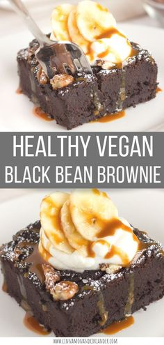 Healthy Vegan Black Bean Brownies | these fudgey chocolate brownies are made with canned black beans, unsweetened cocoa powder and are naturally sweetened with ripe banana! The perfect easy to make clean eating and gluten-free dessert for chocoholics! Also free from refined sugar-free #brownies, #veganrecipes #glutenfree #sugarfree