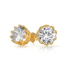 Bling Jewelry Mens Gold Vermeil Round CZ Crown Sterling Silver Stud Earrings $24.99 (save $27.00)