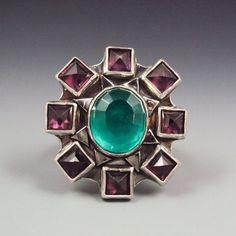 Jewelry Diamond : Gemmy Ring with Green Quartz and Rhodolite by danaevansstudio