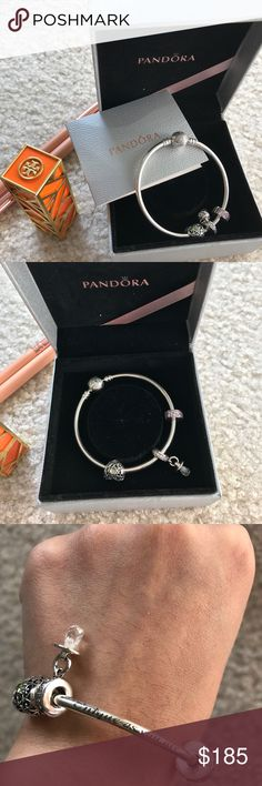 Pandora bracelet with charms Snowflake Bangle($70)and 3 charms($165) . They all brand new purchase at pandora store. My husband bought it for me but i didnt like it but i still kept it for awhile then im finally decided to let it go rather sitting there with no use. Its beautiful. Small size bangle. Pandora Accessories