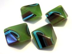 Unique WILD Large Green Multi Acrylic Beads by bijoullery on Etsy