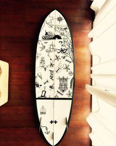 """Paint job on my new surfboard"" almost done #illustrations #balistyle #impressionsofbali #blackandwhiteillustration #surfboard #surfboardart #theartofdoingholidays #meandmysurfboard #eatsurfsleeprepeat"