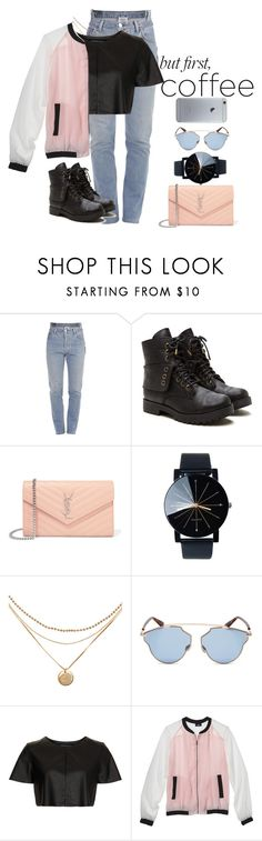 """""""Coffee Shop"""" by justmehanan on Polyvore featuring Vetements, Yves Saint Laurent, Christian Dior, Topshop, Mossimo and coffeebreak"""