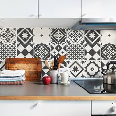 Grey Tile Decals - Tile Stickers Set - Geometric Traditional Tiles Kit - Tiles for Kitchen - Kitchen Backsplash - PACK OF 24 by SirFaceGraphics on Etsy https://www.etsy.com/ca/listing/542947082/grey-tile-decals-tile-stickers-set