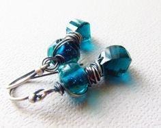 Peacock Quartz Earrings Artisan Lampwork Wire by CuteJewels, $40.00