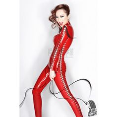 Latex clothing gel coat straitest women's latex clothing red sexy bodysuit…
