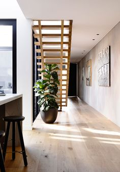 No baseboards: Stair Materiality & Timber Flooring - Elwood Townhouse Interior Architecture, Interior Design, Modern Townhouse Interior, House Stairs, Timber Flooring, Flooring Ideas, Staircase Design, Timber Staircase, Stair Design