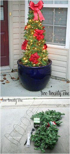 DIY Tomato Cage Poinsettia Christmas Tree