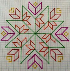 Kasuti Embroidery, Geometric Embroidery, Embroidery Stitches Tutorial, Hand Embroidery Designs, Cross Stitch Embroidery, Embroidery Patterns, Cross Stitch Patterns, Quilt Patterns, Graph Paper Drawings