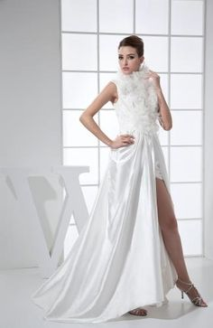 Elastic Satin Strapless Prom Gown - Order Link: http://www.theweddingdresses.com/elastic-satin-strapless-prom-gown-twdn7889.html - Embellishments: Lace , Split-Front; Length: Short; Fabric: Elastic Satin; Waist: Natural - Price: 138.99USD