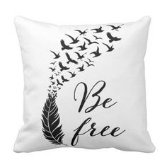 Be free with feather and birds throw pillow