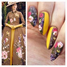Another look at this beautiful floral dress design. See Previous postfor a sunshine shot of this mani#acrylicpainting #outlander #florals #vintagefashion #mattenails