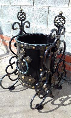 Forged garbage can #handmade #wroughtiron