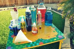 SCIENCE/POTION LAB: The kids had a great time with this! Just need a variety of plastic bottles, used soap dispensers, water and food coloring & even measuring cups or syringes...