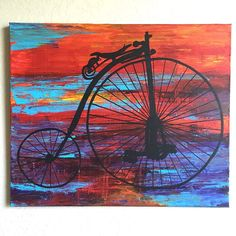 This is an original 24 x 20 x 0.75 acrylic painting of a Penny-Farthing bicycle by me, Ashley Baldwin!